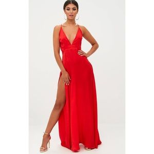 PrettyLittleThing Split Strappy Back Maxi Dress
